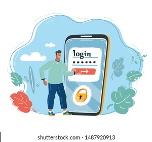Cartoon vector illustration of tiny Man standing near big smartphone with login password interface pushing button. Online security id identification concept.
