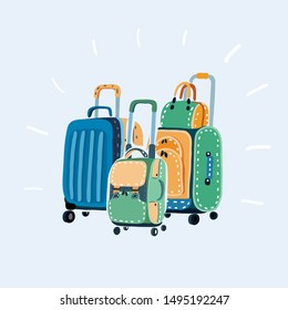 Cartoon vector illustration of Travel bags on white background.