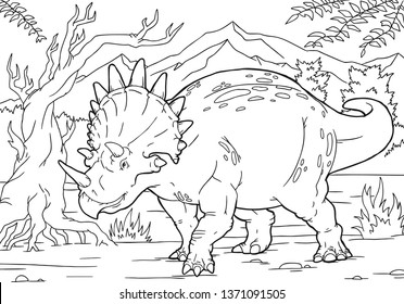 Cartoon Vector Illustration of Triceratops Dinosaur Reptile Species in Prehistoric World for Coloring Book and Education