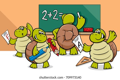 Cartoon Vector Illustration of Turtle Animal Characters at School