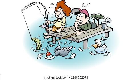 Cartoon Vector illustration of two Boys on Fishing Trip