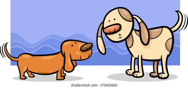 Cartoon Vector Illustration of Two Funny Dogs Wagging their Tails