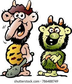 Cartoon Vector illustration of two funny goblins or troll monsters