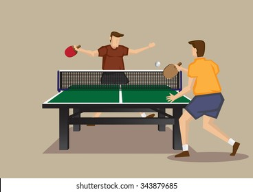 Cartoon vector illustration of two male table tennis players having a singles game isolated on plain background.