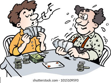 Cartoon Vector illustration of two Men playing Poker