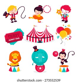 A cartoon vector illustration of various cute carnival circus theme icons or design elements. This set includes ringmaster, acrobat artist, clown, ticket, circus tent, balloons and circus animals.