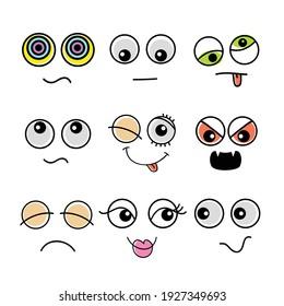 cartoon vector illustration of various emoticons