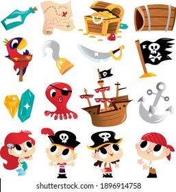 A cartoon vector illustration of various super cute pirate adventure theme characters and designs like pirate kids, treasure chest, mermaid and more.