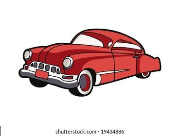 cartoon vector illustration of a vintage car