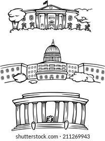 cartoon vector illustration of Washington DC buildings