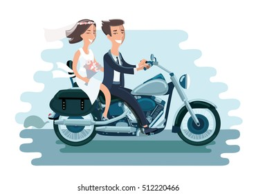Cartoon vector illustration of wedding young couple riding the motorcycle. Funny bride and groom
