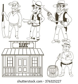 Cartoon vector illustration of western bandits and a bank, outlined