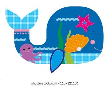 Cartoon vector illustration with whale, octupus, starfish