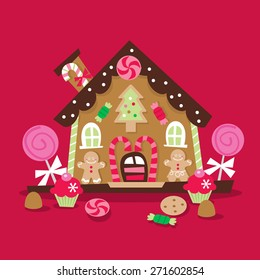 A cartoon vector illustration of a whimsical and retro inspired christmas gingerbread house with lots of candy, lollipop and sweets as decoration.
