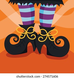 A cartoon vector illustration of a witch's boots/foot.