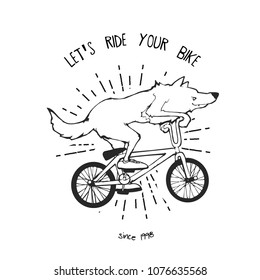Cartoon vector illustration - Wolf riding bicycles BMX