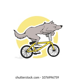 Cartoon vector illustration - Wolf riding bicycle