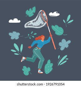 Cartoon vector illustration of woman with butterfly hunter net on dark background.
