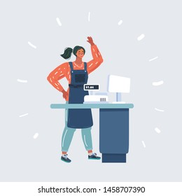 Cartoon vector illustration of woman cashier at the checkout in supermarket. Female cashier working at the cash register. Human character on isolated on white background.