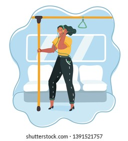 Cartoon vector illustration of woman go by public transport, metro, bus, train. Female charcter lister to the music in headphones and hold on to the rail in car background.