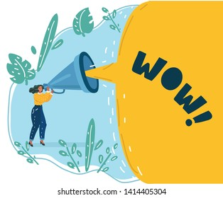 Cartoon vector illustration of Woman holding a megaphone on blue background. Big speech bubble with Woman on blue.
