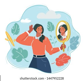 Cartoon vector illustration of woman looking at the mirror and see herself.