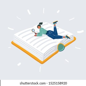 Cartoon vector illustration of woman with Magnifying glass in her hand isolated on white background. Student, books reader or, researcher. Studying concept.
