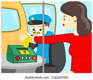 Cartoon vector illustration of woman paying cash for the bus trip and driver looking on money.