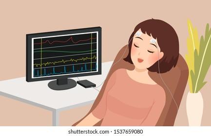 cartoon vector illustration of woman sleeping doing biofeedback therapy
