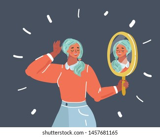 Cartoon vector illustration of woman staring at her reflection in a mirror. Mirror shows lovely face. Self Love, Confidence and Concept. Human face on dark.