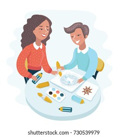 Cartoon vector illustration of Woman teaches boy painting. Characters on white isolated background. Workshop in painting school.