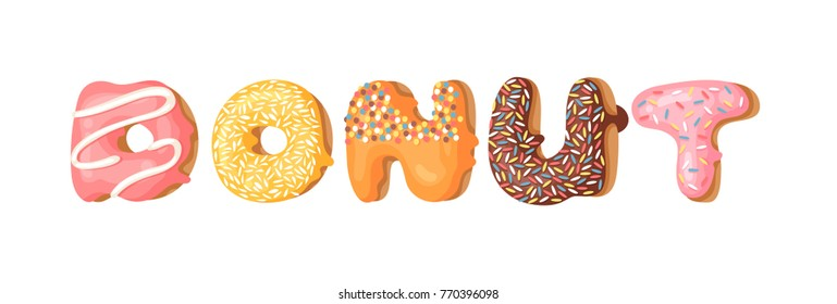 Cartoon vector illustration with word donut. Hand drawn drawing sweet bun. Actual Creative art work bake