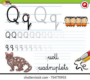 Cartoon Vector Illustration of Writing Skills Practice with Letter Q Worksheet for Preschool and Elementary Age Children