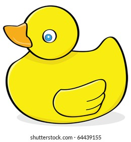 Cartoon vector illustration of a yellow rubber duck