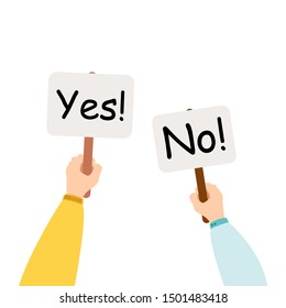 Cartoon vector illustration of Yes No banner in human hand on white background. Test question. Choice hesitate, dispute, opposition, choice, dilemma, opponent view.