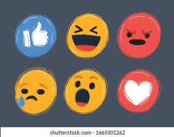 Cartoon vector illustrations of Abstract flat style design emotion set. Vector faces icon collection.