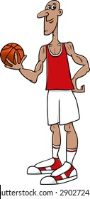 Cartoon Vector Illustrations of Basketball Player Sportsman with Ball