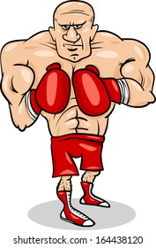Cartoon Vector Illustrations of Boxer Sportsman or Fighter