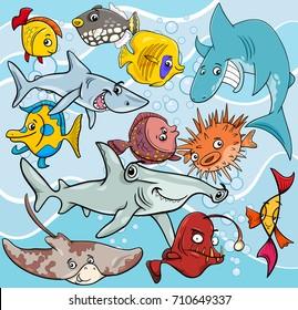 Cartoon Vector Illustrations of Fish Sea Life Animal Characters Group