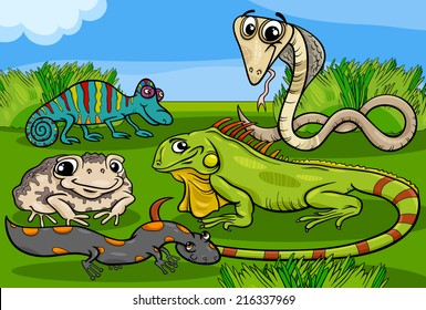 Cartoon Vector Illustrations of Funny Reptiles and Amphibians Animals Characters Group