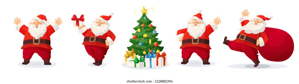 Cartoon vector illustrations of Santa Claus and decorated Christmas tree with presents. Winter holidays design elements isolated on white. Funny and cute retro character. For new year cards, banners