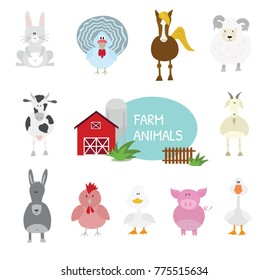 Cartoon vector illustrations, set of flat design farm animals. Cute and funny.