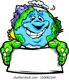 Cartoon Vector Image of a Happy Smiling Planet Earth with Mountains and Oceans Holding a Sign for Earth Day