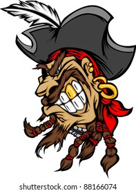 Cartoon Vector Image of Pirate Mascot Wearing a Hat