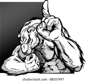 Cartoon Vector Image of a Polar Bear Flexing Arms and Holding up Champion Finger