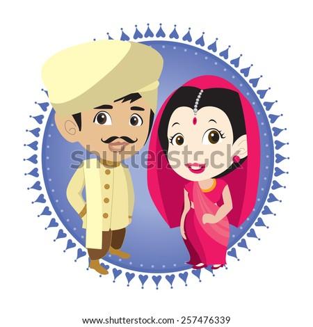 Cartoon Vector Indian Bride Groom Stock Vector Royalty Free