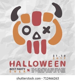 Cartoon vector invitation for halloween party. Halloween element for scrap-booking. Hand drawn vector illustration. Trick or treat.