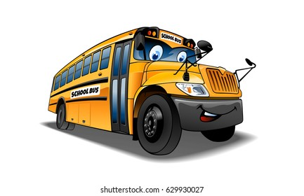 Cartoon and vector isolated character. Vector Illustration of a school bus.