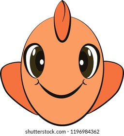 Cartoon vector isolated face of orange fish for child mask. On white background.