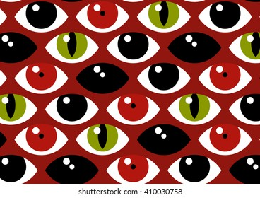 Cartoon vector isolated red and green scary eyes on brown background